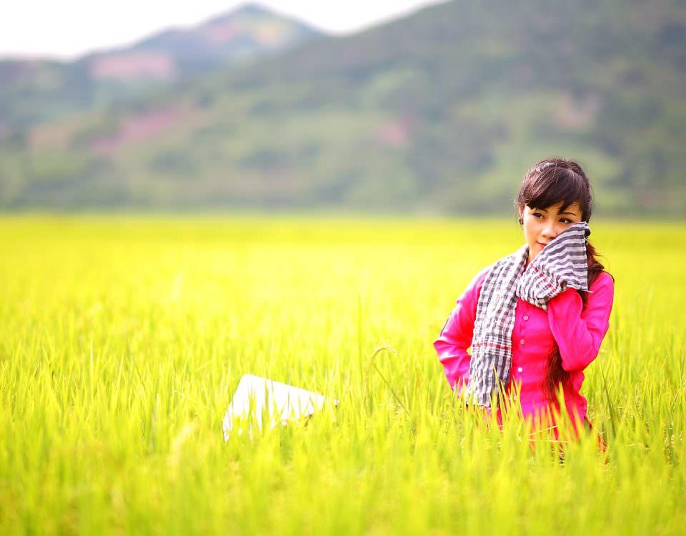 ragazza cinese vestita di rosa in una distesa di grano